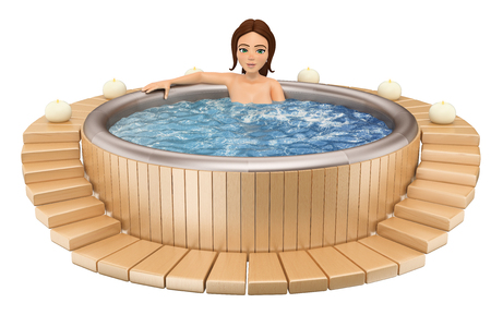 3d young people illustration. Woman taking a relaxing bath in a jacuzzi. Isolated white background. Stock Photo