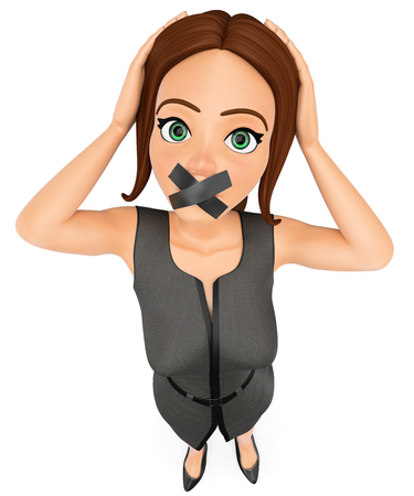 3d business people illustration. Businesswoman with mouth covered by crossed tape. Isolated white background.