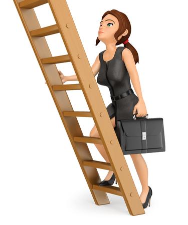 3d 비즈니스 사람들이 그림. 나무 사다리를 등반하는 비즈니스 우먼. 직업 승진. 격리 된 흰색 배경입니다.
