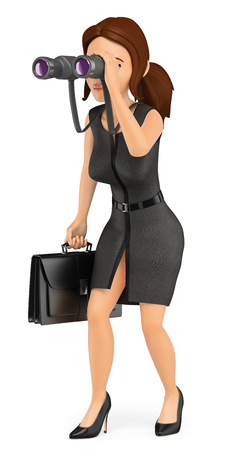 3d business people illustration. Businesswoman looking through a binoculars. Future vision. Isolated white background. Stock Photo