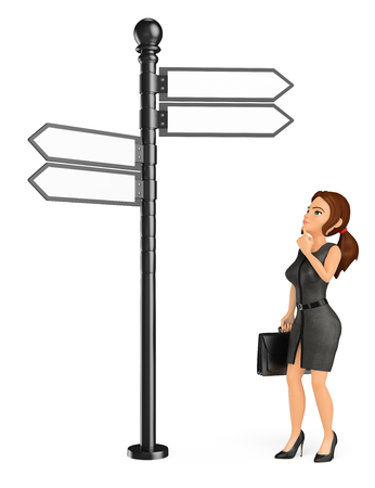 3d business people illustration. Businesswoman thoughtful and looking at an address sign. Isolated white background. Stock Photo
