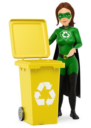 3d 환경 사람들이 그림. 재활용을 위해 노란색 빈으로 서 재활용의 여자 슈퍼 히어로. 격리 된 흰색 배경입니다.