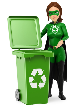 3d 환경 사람들이 그림. 재활용을 위해 녹색 빈으로 서 재활용의 여자 슈퍼 히어로. 격리 된 흰색 배경입니다.