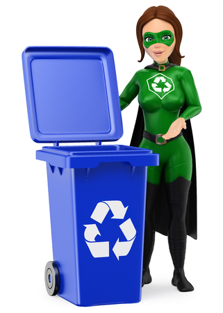 3d environment people illustration. Woman superhero of recycling standing with a blue bin for recycling. Isolated white background. Stock Photo