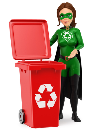 3d 환경 사람들이 그림. 재활용을 위해 빨간 빈으로 서 재활용의 여자 슈퍼 히어로. 격리 된 흰색 배경입니다. 스톡 콘텐츠