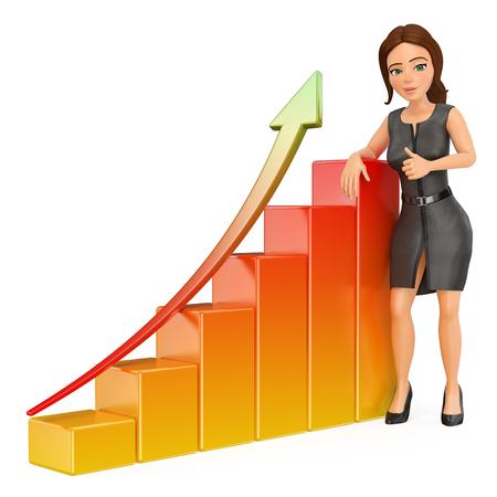 3d 비즈니스 사람들이 그림. 막대 그래프에 기대어 사업가입니다. 경제. 격리 된 흰색 배경입니다.