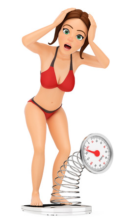 3d young people illustration. Woman in bikini weighing herself on a scale. Overweight. Isolated white background.