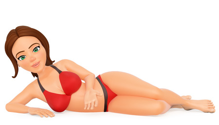 3d young people illustration. Woman in bikini lying on her side in a sexy position. Isolated white background. Stock Photo