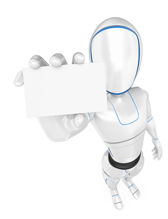 3d futuristic android illustration. Humanoid robot standing with a blank card. Isolated white background.