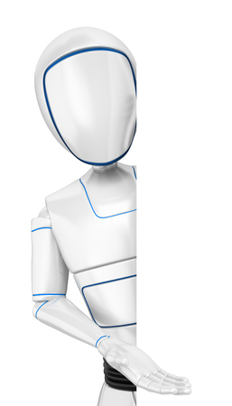 3d futuristic android illustration. Humanoid robot pointing aside. Isolated white background. Foto de archivo