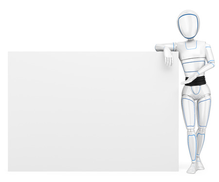 3d futuristic android illustration. Humanoid robot leaning on a blank poster. Isolated white background. Foto de archivo