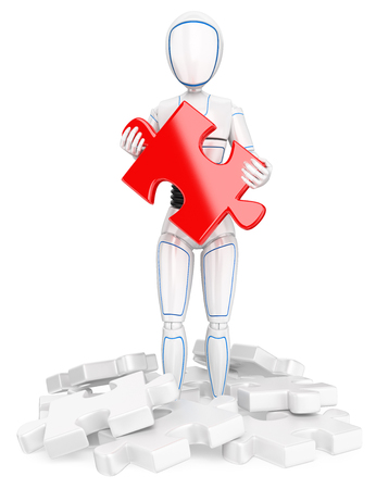 3d futuristic android illustration. Humanoid robot with a red puzzle piece. Find the solution. Isolated white background.