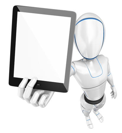3d futuristic android illustration. Humanoid robot with a blank screen tablet. Isolated white background.
