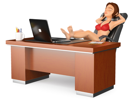 3d business people illustration. Woman in bikini sitting and relaxed in his office. Isolated white background. Foto de archivo