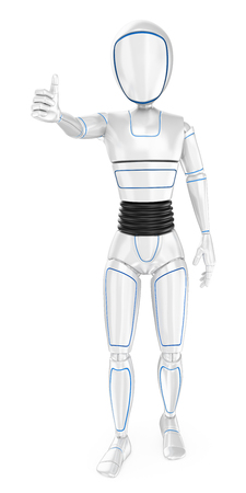 Humanoid robot with thumb up. Isolated white background. Foto de archivo