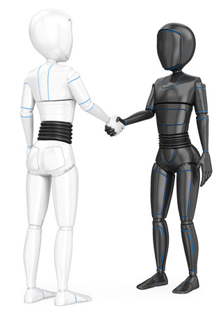Humanoid robot shaking hands with another robot. Isolated white background.