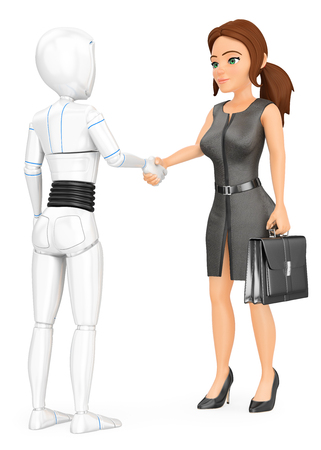 Humanoid robot shaking hand with a business woman. Isolated white background. Foto de archivo