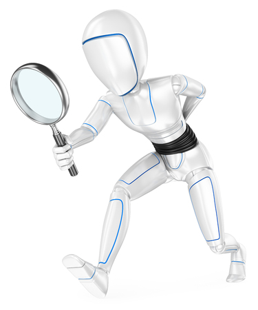 Humanoid robot looking for with a magnifying glass. Isolated white background.