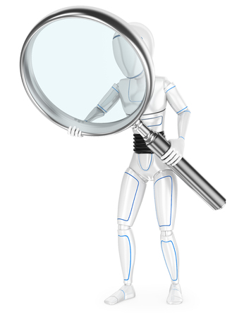 Humanoid robot with a huge magnifying glass. Isolated white background.