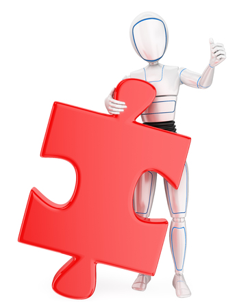 Humanoid robot with a huge puzzle piece. Solution. Isolated white background. Foto de archivo