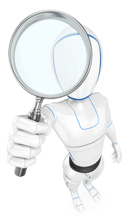 Humanoid robot with a magnifying glass. Isolated white background.