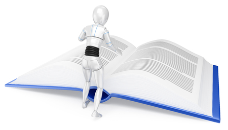 Humanoid robot reading a huge book. Isolated white background. Foto de archivo