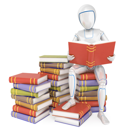 Humanoid robot sitting on a pile of book reading. Isolated white background. Foto de archivo