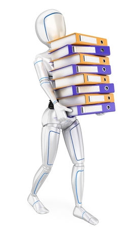 Humanoid robot loading with many ring binders. Work overload. Isolated white background.