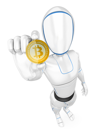 Humanoid robot mining a cryptocurrency bitcoin. Isolated white background.