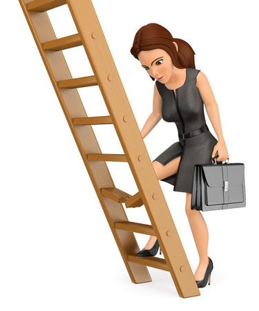 3d business people illustration. Businesswoman climbing up a broken ladder. Isolated white background. Foto de archivo