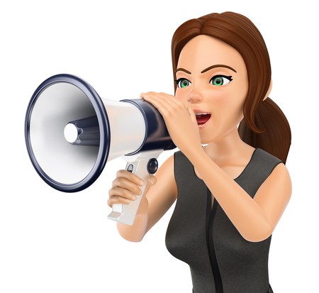 3d business people illustration. Businesswoman talking on a megaphone. Isolated white background. Foto de archivo
