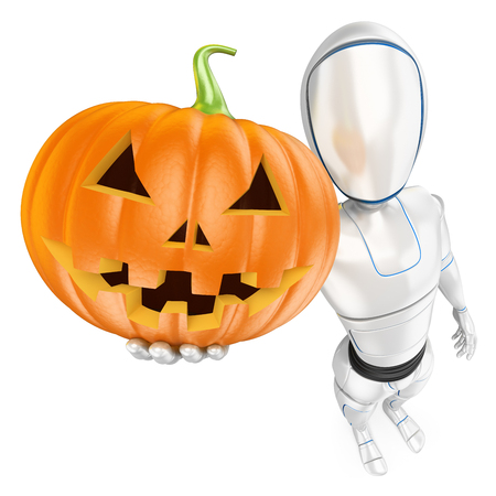 Humanoid robot with a big pumpkin. Halloween. Isolated white background.