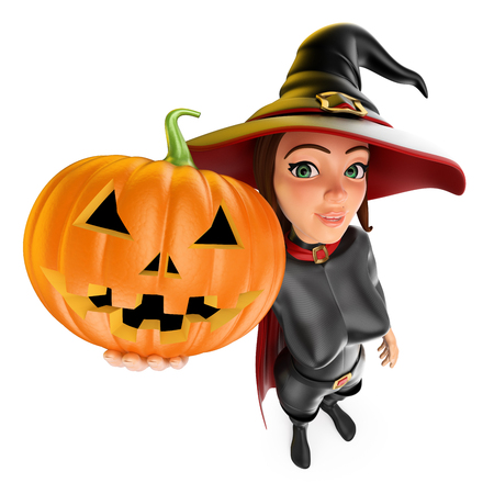 3d halloween people illustration. Witch with a big pumpkin. Isolated white background. 스톡 콘텐츠 - 114515211