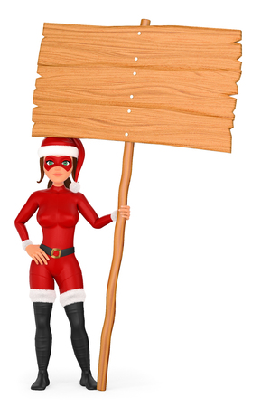 3d christmas people illustration. Woman superhero standing with a wooden blank poster. Isolated white background. Foto de archivo