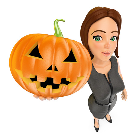 3d halloween people illustration. Business woman with a big pumpkin. Isolated white background. Foto de archivo