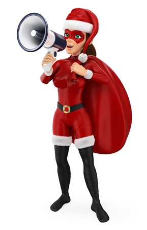3d christmas people illustration. Woman superhero with a sack talking on a megaphone. Isolated white background. 스톡 콘텐츠 - 114515266