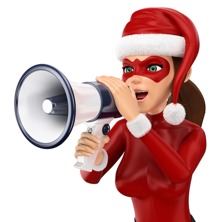 3d christmas people illustration. Woman superhero talking on a megaphone. Isolated white background. 스톡 콘텐츠 - 114515265