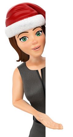 3d christmas people illustration. Business woman with santa hat pointing aside. Blank. Isolated white background.