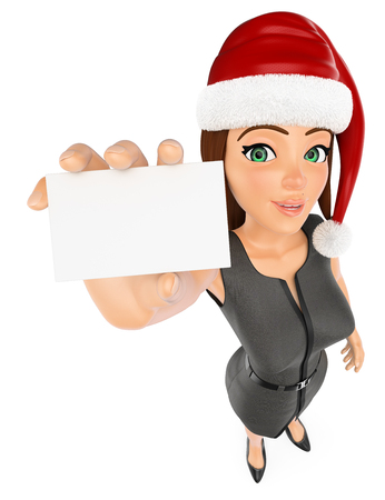 3d christmas people illustration. Businesswoman with santa hat and blank card. Isolated white background.