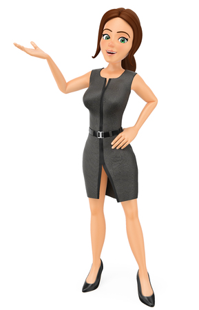 3d business people illustration. Businesswoman pointing aside with hand. Isolated white background.