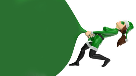 3d green christmas people illustration. Woman superhero pulling a huge gift bag. Blank. Isolated white background 스톡 콘텐츠 - 114515326