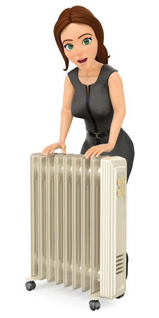 3d business people illustration. Businesswoman warming herself with an portable radiator. Isolated white background Foto de archivo