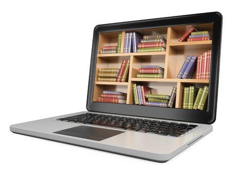 Ilustración 3D. Ordenador portátil. Concepto de biblioteca digital. Fondo blanco aislado.