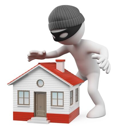 3d white people illustration. Thief spying a house to steal. Isolated white background.  Foto de archivo