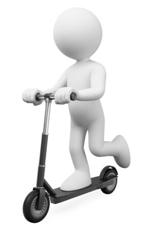3d white people illustration. Man riding on a electric rental scooter. Isolated white background.