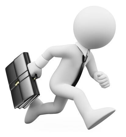 3d white people illustration. Businessman running with a suitcase. Isolated white background. 版權商用圖片