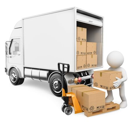 3d white people illustration. Worker unloading boxes from a truck. Isolated white background. Stok Fotoğraf - 132125163