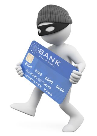 3d white people illustration. Thief stealing a credit card. Isolated white background.