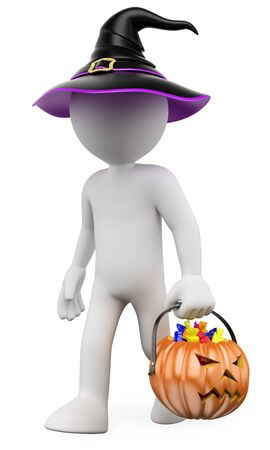 3d white people illustration. Child with a pumpkin full of Halloween candies. Isolated white background.