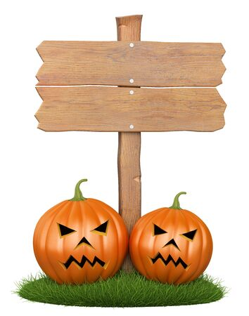3d Halloween poster. Wooden sign with two pumpkins at the base. Illustration
